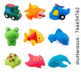 Rubber Bath Toys Isolated On...