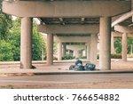 Homeless Person Under The Bridge