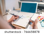 close up of business woman's... | Shutterstock . vector #766658878
