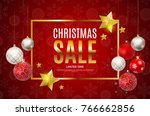 christmas and new year sale... | Shutterstock .eps vector #766662856