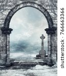 stone cemetery gate and a... | Shutterstock . vector #766663366