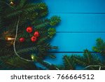 evergreen branch with red... | Shutterstock . vector #766664512
