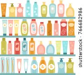 shelf with cosmetics  shampoos  ... | Shutterstock .eps vector #766682986