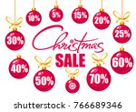 christmas sale poster. discount ... | Shutterstock .eps vector #766689346