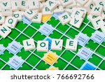 Small photo of London, England, November 16, 2017 - Scrabble letters spelling the word love