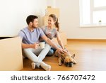 mortgage  people and real... | Shutterstock . vector #766707472