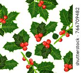 seamless pattern of holly... | Shutterstock .eps vector #766709482