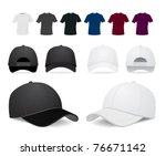 vector baseball cap and shirt... | Shutterstock .eps vector #76671142