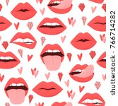 sexy lips with tongue  red... | Shutterstock .eps vector #766714282