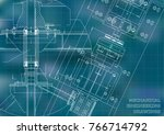 mechanical engineering drawings.... | Shutterstock .eps vector #766714792