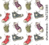 seamless pattern with sneakers | Shutterstock .eps vector #766722085