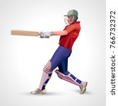 abstract cricket player... | Shutterstock . vector #766732372