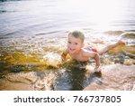 a caucasian child of three... | Shutterstock . vector #766737805