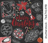 christmas food menu chalk... | Shutterstock .eps vector #766741498