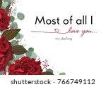 vector floral card design ... | Shutterstock .eps vector #766749112