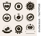 coffee labels and icons set.... | Shutterstock .eps vector #766749568