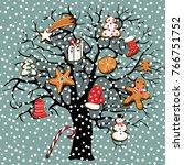 vector illustration of winter... | Shutterstock .eps vector #766751752