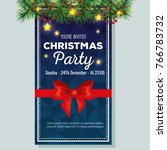 invitation to christmas party | Shutterstock .eps vector #766783732