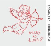 Fashionable cupid with glasses and tattoo shoots arrows from his bow, hand drawn doodle, sketch in pop art style, vector