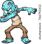 dabbing cartoon zombie. vector... | Shutterstock .eps vector #766792312