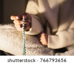 woman  lit hand close up ... | Shutterstock . vector #766793656