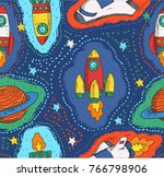 rocket doodle and fullcolor... | Shutterstock .eps vector #766798906