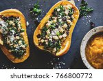 stuffed butternut squash with... | Shutterstock . vector #766800772
