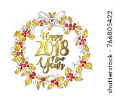 happy new year 2018 greeting... | Shutterstock .eps vector #766805422