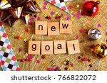 new goal wooden blocks. new... | Shutterstock . vector #766822072
