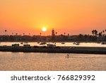 vivid orange sky during warm... | Shutterstock . vector #766829392