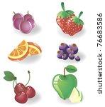 set fruit and berries - stock vector