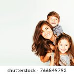 young mother with two children... | Shutterstock . vector #766849792