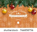 christmas card with detailed... | Shutterstock .eps vector #766858756