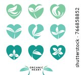 set of eco heart and organic... | Shutterstock .eps vector #766858852