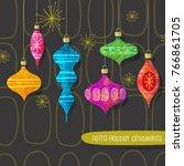 set of vintage retro christmas... | Shutterstock .eps vector #766861705