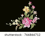 vintage flower embroidery... | Shutterstock .eps vector #766866712