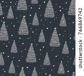 hand drawn christmas tree on... | Shutterstock .eps vector #766869742