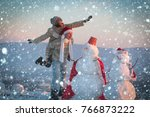 new year christmas snow concept ... | Shutterstock . vector #766873222