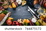 assorted cheeses  sausages ...   Shutterstock . vector #766875172