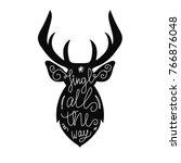 reindeer silhouette with... | Shutterstock .eps vector #766876048