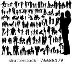 family silhouettes | Shutterstock .eps vector #76688179
