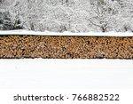 stack of wood in the winter   Shutterstock . vector #766882522