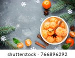tangerines in spicy sugar syrup ...   Shutterstock . vector #766896292