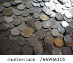 a lot of thailand baht coins... | Shutterstock . vector #766906102