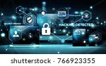 antivirus interface over modern ... | Shutterstock . vector #766923355