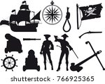 Set Of Silhouettes On A Pirate...