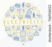 electricity concept in circle... | Shutterstock .eps vector #766926022