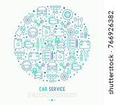car service concept in circle... | Shutterstock .eps vector #766926382
