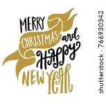 merry christmas happy new year... | Shutterstock .eps vector #766930342
