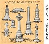 tombstone and gravestone vector ... | Shutterstock .eps vector #766933072